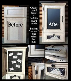 Reuse a cabinet / door / face frame: Transform a sample frame (just a cabinet door and drawer front, mounted on to a face frame - available cheap at most cabinet shops) into a memo station!  Chalkboard door opens to a hidden bulletin board, perfect for appointments.  Drawer front has been hinged to open for mail.  By Cabinet Doors  More in Fordsville, KY
