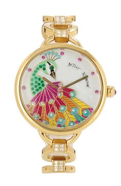 Betsey Johnson 'Bling Bling Time' Peacock Dial Watch