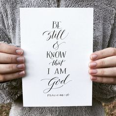 Be still and know that I am God. Psalm 46:10  This PRINT is a copy of a completely hand-drawn art piece made with a pointed pen and ink. It is printed on quality fine art, acid-free paper. The natural white-colored paper will look good with any frame or mat. Size come 4X6 or 5X7.  This print is from Paperglaze Calligraphys Bella Scriptura collection. Others scriptures from the Bella Scriptura collection are offered on other listings. If you desire to have this print in a larger size, it can…