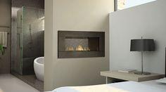 Fireplaces between rooms: kitchen & lounge, bathroom & bedroom
