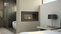 Fireplaces between rooms: kitchen & lounge, bathroom & bedroom