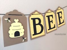 Here is the perfect banner for a Bee Themed Baby Shower! This makes a great photo prop or decoration. It is also perfect for a gender neutral shower! Each banner is hand-made with high-quality card stock.  DIMENSIONS: Each piece has three layers & measures 3x4 inches. The entire banner is just over 3 feet long. Each piece can easily be moved to be spaced closer or farther apart - which will affect the exact length. There is a generous 1 foot of twine on each end so it can be easily hung o...
