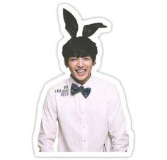 'Bunny Jungkook BTS ' Sticker by Emma Keenan Pop Stickers, Bubble Stickers, Wallpaper Stickers, Face Stickers, Printable Stickers, Bts Wallpaper, Bts Chibi, Bts Tattoos, Kpop Diy