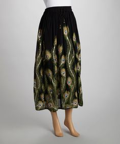 Take a look at this Black & Green Peacock Skirt by The OM Company on #zulily today! <3