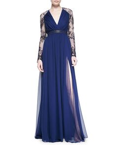 Lace-Sleeve+V-Neck+Gown+by+Badgley+Mischka+Collection+at+Neiman+Marcus.