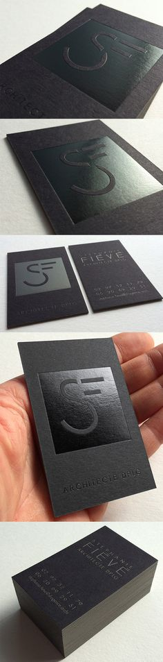 Clever Black On Black Business Card Design For An Architecture Firm