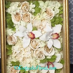 Beautiful blanket display of a preserved bridal bouquet in a custom shadow box…