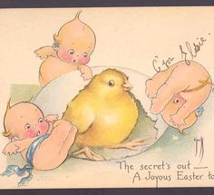 KEWPIE DOLLS FREE EASTER CHICK FROM EGG WITH HAMMER,O'NEILL,VINTAGE POSTCARD