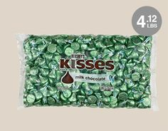 4lb 2.7oz HERSHEY'S KISSES Candy Light Green Foiled Milk Chocolate Bulk Package - Approx 410 Pieces #WrappedHersheys #customcandy #hersheybarwrappers #personalizedcandy
