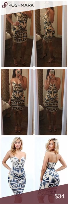 ♥️Bodycon dress♥️ ♥️New✨ Tube Top Bodycon Dress in Aztec Pattern ♥️Deep Wired V-neck on the front with elastic band on the back .    ♥️96% Polyester 4% Spandex.  ♥️MADE IN USA. Dresses Strapless