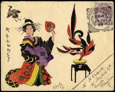 27 Hand Illustrated and Later Printed Envelopes: 1898 (Jan. 19th) envelope with coloured hand illustration depicting a Japanese Lady with fan and stylised plant, signed 'Clark 98' and sent within South Tottenham with 1881 die 2 1d. lilac, exceptional. Photo.