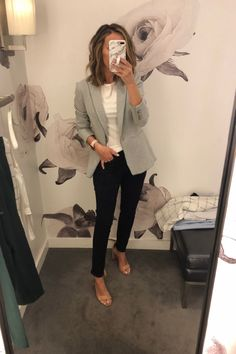 Fitting Room Snapshots - Gray blazer + dark wash jeans