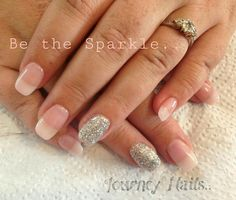 A soft French look. Inspired by acrylic look. Add some sparkle. Nail art by a local lady in Centurion, South Africa.. 071 244 4709 Contact her for an appointment