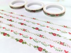 3 rolls Roses washi tape 5M x 7mm red rose blossom by TapesKingdom