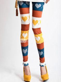 Sweet Multi-Color Heart Printed Polyester Womens Leggings - Milanoo.com
