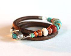 Turquoise Leather Bracelet - Triple wrap bracelet turquoise, coral, silver jewelry bracelet beaded bracelet.