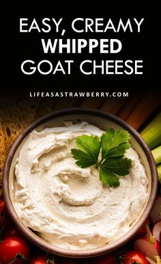 This easy whipped goat cheese appetizer is perfect for spreading on crostini or using as a creamy dip! With just three ingredients and plenty of serving and substitution ideas to make it your own.