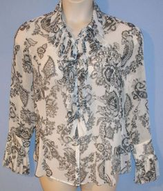 CAbi Style #731 Catherine Large L Gray White Ruffle Paisley Sheer Blouse Top #CAbi #Blouse #Career