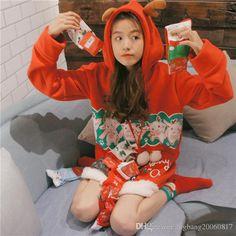 2017 Christmas Elk Cute Fluf Venonat Print Antler Girl Dress Women Hoodie Fleece Hot Carton Warmer Thick Autumn Winter Different Sizes Black Gray From Bigbang20060817, $26.14   Dhgate.Com