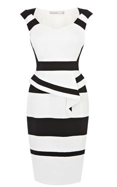 Ang - ruined a black/white striped dress so was looking for a replacement - this is one of my faves KAREN MILLEN ENGLAND Colourblock Cotton Peplum Dress Karen Millen, Pretty Dresses, Beautiful Dresses, Dress Skirt, Dress Up, Peplum Dresses, Pencil Dresses, Bandage Dresses, Casual Dresses