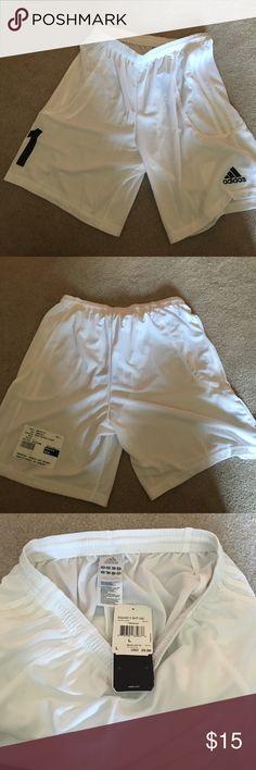 Adidas Squadra ll Short in white, size large Never worn. Adidas soccer shorts. adidas Shorts Athletic