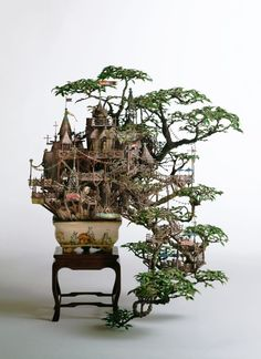 incredible set of minitures built into banzai trees
