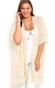 Deb Shops Plus Size Sweater Knit Kimono with Fringe Trim $14.00