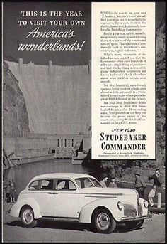 Studebaker Commander Cruising Sedan 1940 Photo Ad Boulder Dam