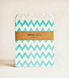 Paper Bags in Turquoise Chevron Stripes - Set of 20 - 5x7 Party Favor Blue Kraft Gift Wrapping Packaging Embellishment Sacks Merchandise