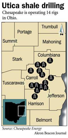 Chesapeake Energy Rig Locations in Ohio Utica Shale
