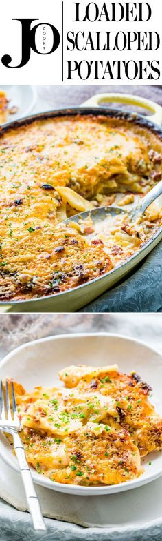 Learn how to make these delicious LOADED SCALLOPED POTATOES with lots of bacon and cheddar cheese. Comfort food at its finest, easy to make and you'll end up with cheesy, creamy, tender potatoes every single time! Dinner Side Dishes, Potato Side Dishes, Vegetable Side Dishes, Side Dishes Easy, Side Dish Recipes, Vegetable Recipes, Vegetable Entrees, Potato Recipes, Cooking Recipes