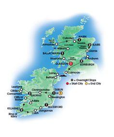 NEW for 2013! Scottish & Irish Gold -15 day Escorted Coach Tour - Deluxe & Superior First Class Hotels - Overnights: 1 Glasgow, 1 Ballachulish, 1 Nairn, 2 Blairs, 2 Edinburgh, 1 Dublin, 2 Galway, 2 Killarney, 1 Waterford, 1 Dublin - Starts Glasgow, Ends Dublin. CIE Tours.