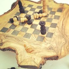 Olive wood chess set / board (Small) with FREE pieces - BLACK SQUARES. $45.00, via Etsy.