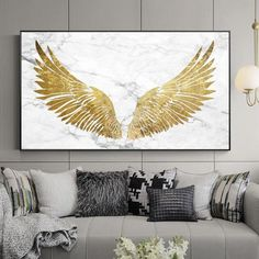 Luxurious Golden Wings On Marble Background Wall Art Fine Art Canvas Prints Glamorous Pictures For Living Room Bedroom Home Decor arts Kunst Malen Foto photos Angel Wings Art, Angel Wings Painting, Angel Wings Wall Decor, Canvas Wall Art, Canvas Prints, Diy Canvas, Framed Wall Art, Wing Wall, Decorating With Pictures