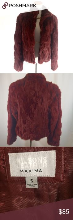 Rabbit Fur Jacket Beautiful Burgundy Rabbit Fur Jacket Wilsons Leather Jackets & Coats