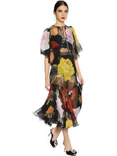 21469a44 DOLCE & GABBANA ROSES PRINTED CHIFFON DRESS, BLACK. #dolcegabbana  #cloth #