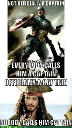 Captain America vs Jack Sparrow... Poor Jack haha