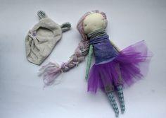 lovely mauve and purple little lu polar bear girl  by humbletoys