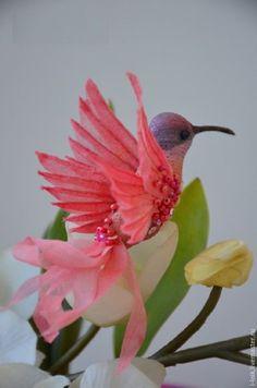 Купить Колибри - коралловый, голубой, сиреневый, птичка декоративная, колибри, текстильная игрушка, текстилльная птичка