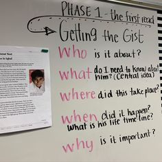 Readind getting the gist first read Reading Fluency, Reading Strategies, Reading Skills, Teaching Reading, Learning, 7th Grade Ela, Third Grade Reading, Middle School Literacy, Middle School Reading