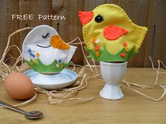 Free pattern -cute chick and duck  for easter décor puppets in a bag