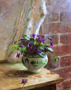 "Sergei Tutunova: title unknown [purple plant by a rainy window], medium unknown. ""Truly well-done!"""
