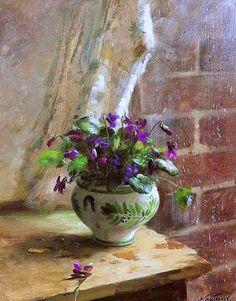 "Sergei Tutunova: title unknown [purple plant by a rainy window], medium unknown. ""Truly well-done!"""