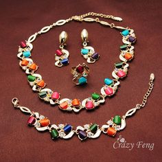 Free shipping New Fashion Women's 18k Yellow Gold Plated Colorful Austrian Crystal Necklace Bracelet Earring Ring Jewelry Sets