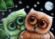 Art 'BABY OWLS PLAYING with FIREFLIES' - by Cyra R. Cancel from