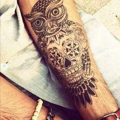 Tatuagem de Coruja Feminina | Caveira Mexicana no Braço