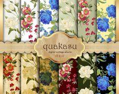 SUMMER FANTASY - Digital Paper Pack Digital Paper Scrapbook Paper Digital Collage Sheet Floral Background