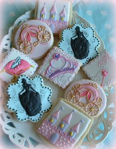 Princess cookies - 1 dozen princess - castle - slipper - carriage cookies