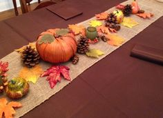 A lovely Thanksgiving tablescape by Traditions By DJT. This set Includes a 120 x 72 inch fabric tablecloth, 10 napkins, a burlap runner, a cornucopia basket and Fall decor.