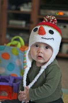Homamade Baby Snowman Earflap Pompon Hat Crochet Pattern 2014 Christmas - Christmas Gifts, Christmas Crafts